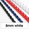 Rexel Plastic Binding Comb 8mm 45 Sheet Capacity White Pack of 100