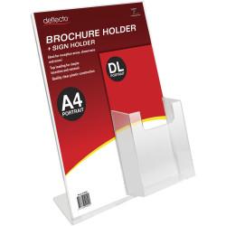 Deflecto Sign Holder Slanted A4 Sign Holder With Top Mount DL Brochure Holder Portrait