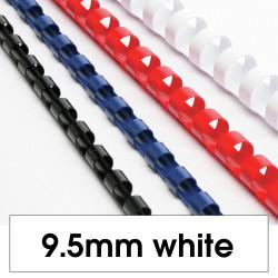 Rexel Plastic Binding Comb 9.5mm 65 Sheet Capacity White Pack of 100