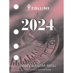 Collins Desk Calendar Refill Side Punch 102x76mm  Quarto White